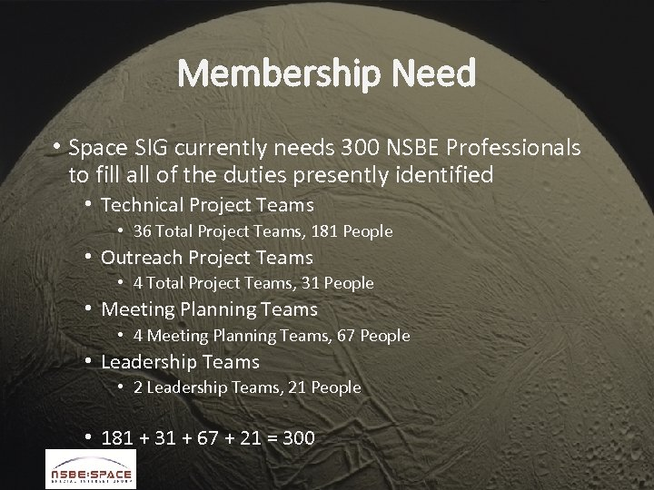 Membership Need • Space SIG currently needs 300 NSBE Professionals to fill all of