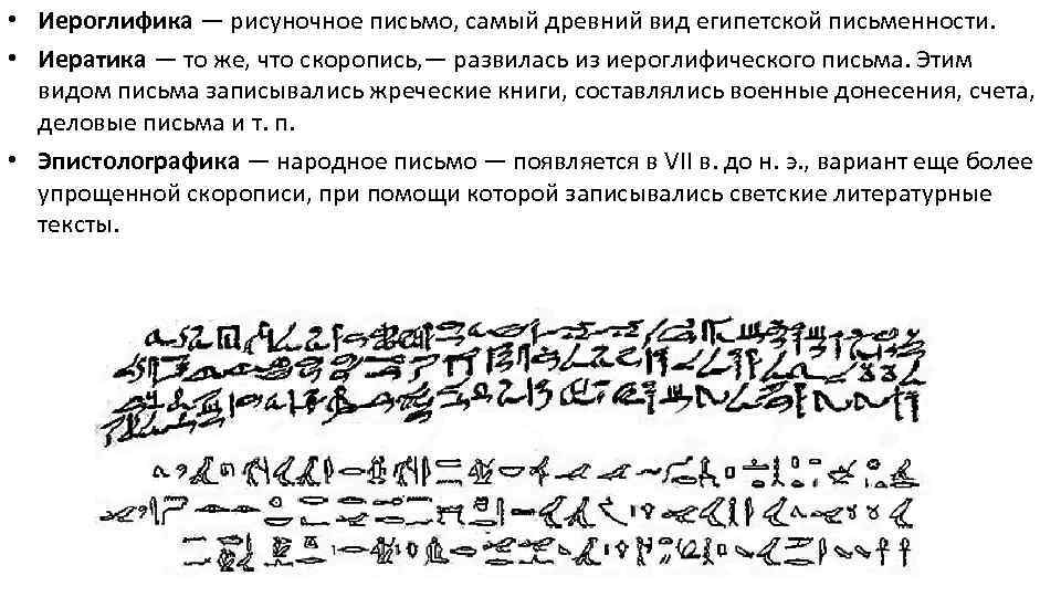 • Иероглифика — рисуночное письмо, самый древний вид египетской письменности. • Иератика —