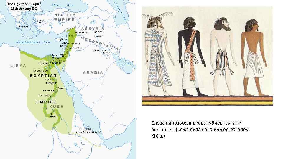 Слева направо: ливиец, нубиец, азиат и египтянин (кожа окрашена иллюстратором XIX в. )