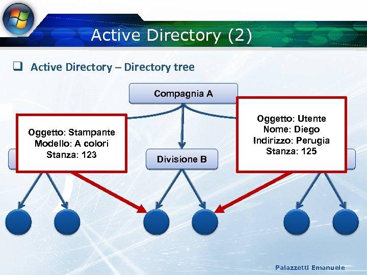 Active Directory (2) q Active Directory – Directory tree Compagnia A Oggetto: Stampante Modello: