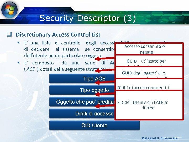 Security Descriptor (3) q Discretionary Access Control List § E' una lista di controllo