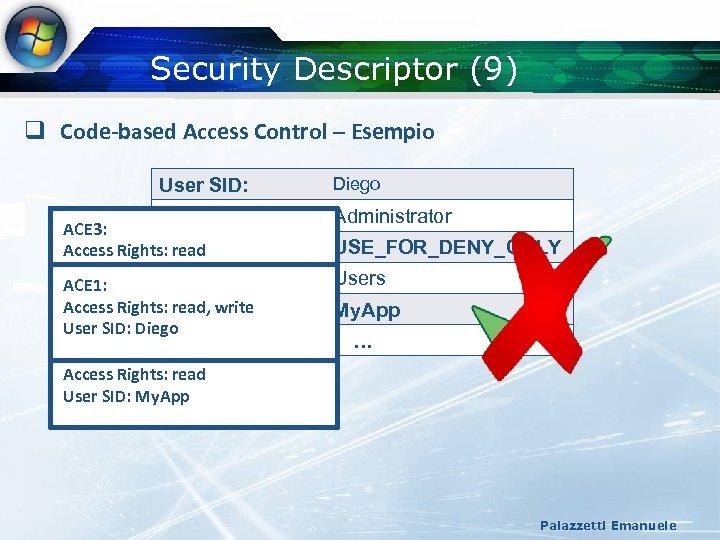 Security Descriptor (9) q Code-based Access Control – Esempio User SID: Diego Group SIDs: