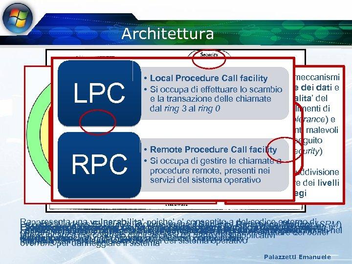 Architettura CALL LPC RPC Stabiliscono • Local Procedure Call facility dei meccanismi per la