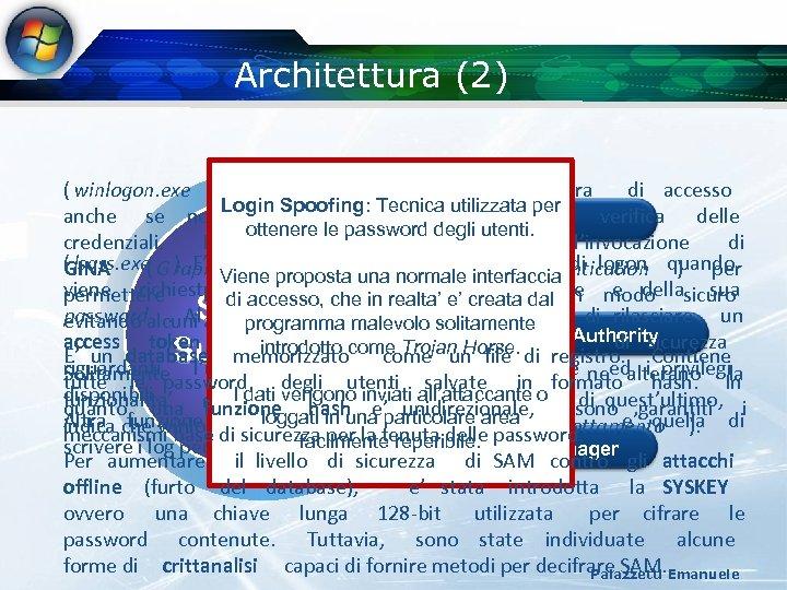 Architettura (2) ( winlogon. exe ) E' responsabile della procedura di accesso per anche