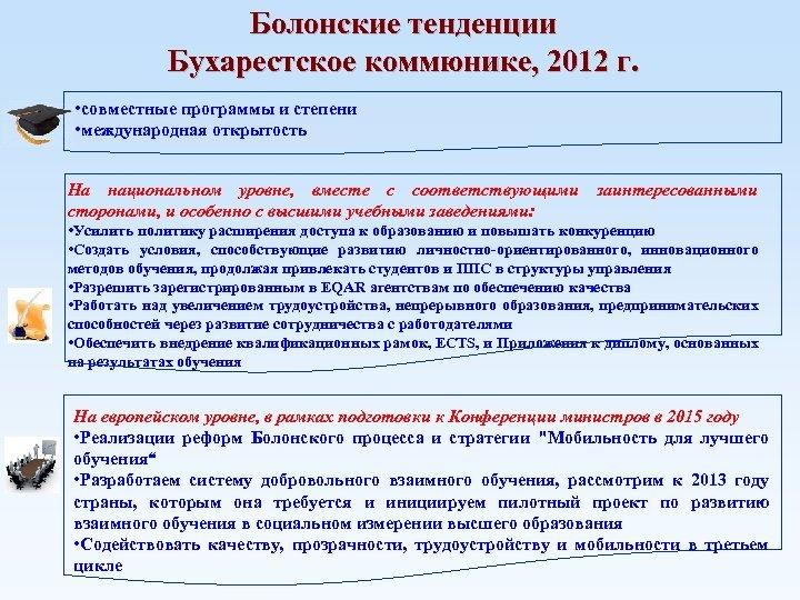 Болонские тенденции Бухарестское коммюнике, 2012 г. • совместные программы и степени • международная открытость