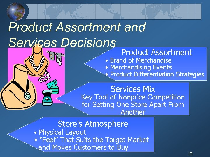Product Assortment and Services Decisions Product Assortment • Brand of Merchandise • Merchandising Events