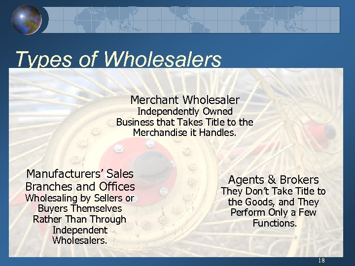 Types of Wholesalers Merchant Wholesaler Independently Owned Business that Takes Title to the Merchandise