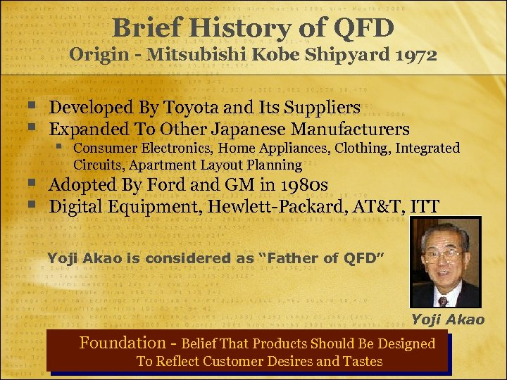 Brief History of QFD Origin - Mitsubishi Kobe Shipyard 1972 § § Developed By