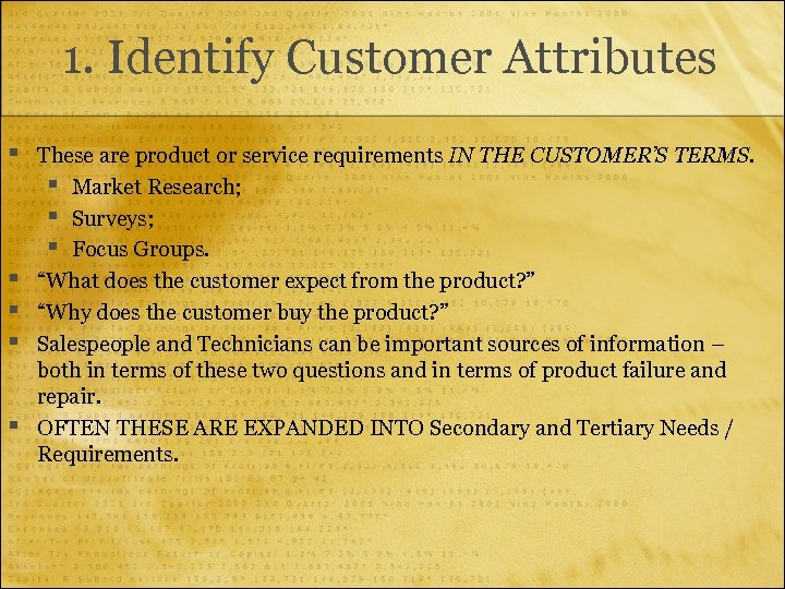 1. Identify Customer Attributes § § § These are product or service requirements IN