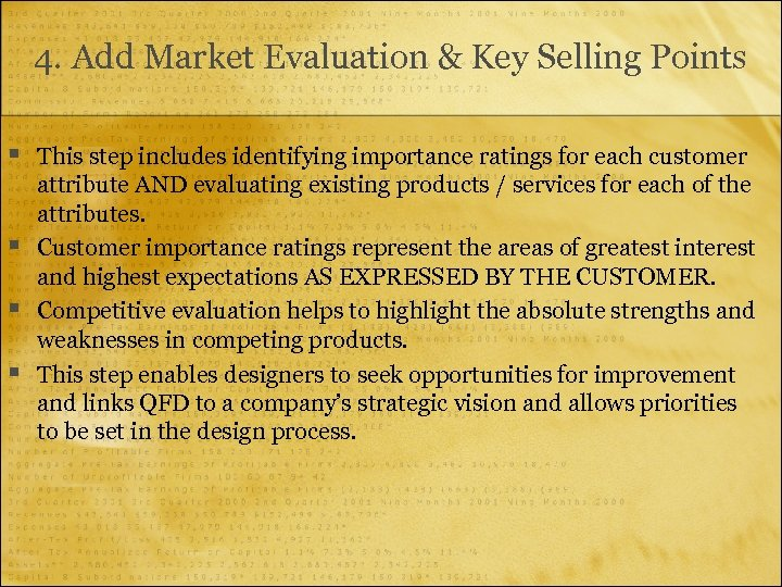 4. Add Market Evaluation & Key Selling Points § § This step includes identifying