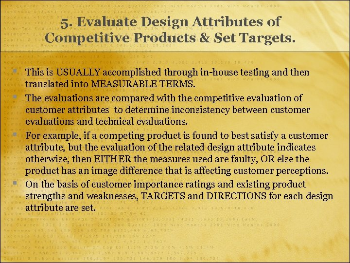 5. Evaluate Design Attributes of Competitive Products & Set Targets. § § This is