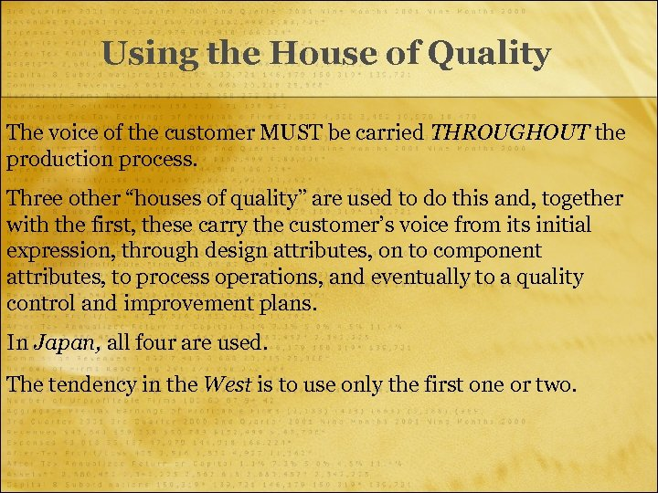 Using the House of Quality The voice of the customer MUST be carried THROUGHOUT