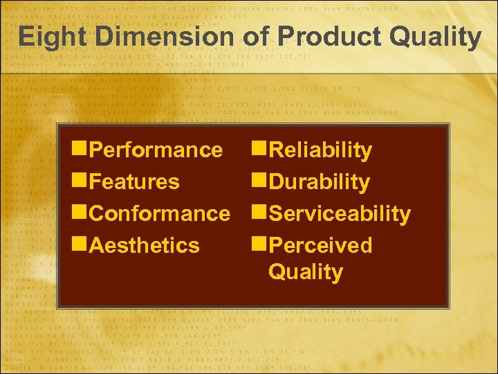 Eight Dimension of Product Quality n. Performance n. Features n. Conformance n. Aesthetics n.