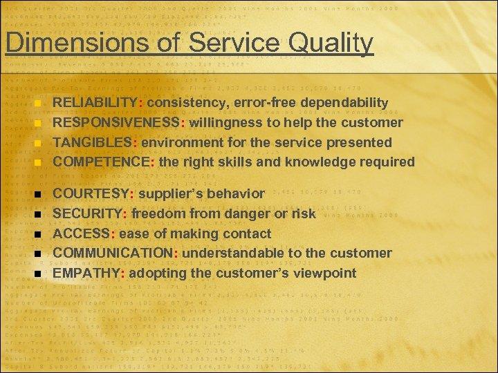 Dimensions of Service Quality n n n n n RELIABILITY: consistency, error-free dependability RESPONSIVENESS: