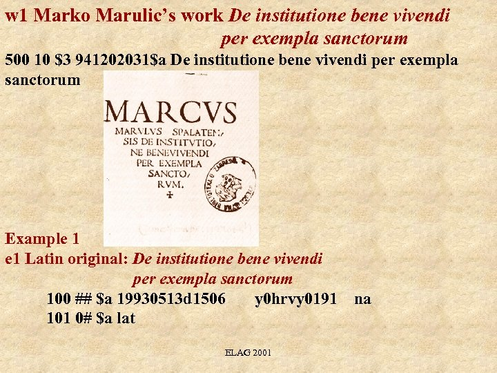w 1 Marko Marulic's work De institutione bene vivendi per exempla sanctorum 500 10