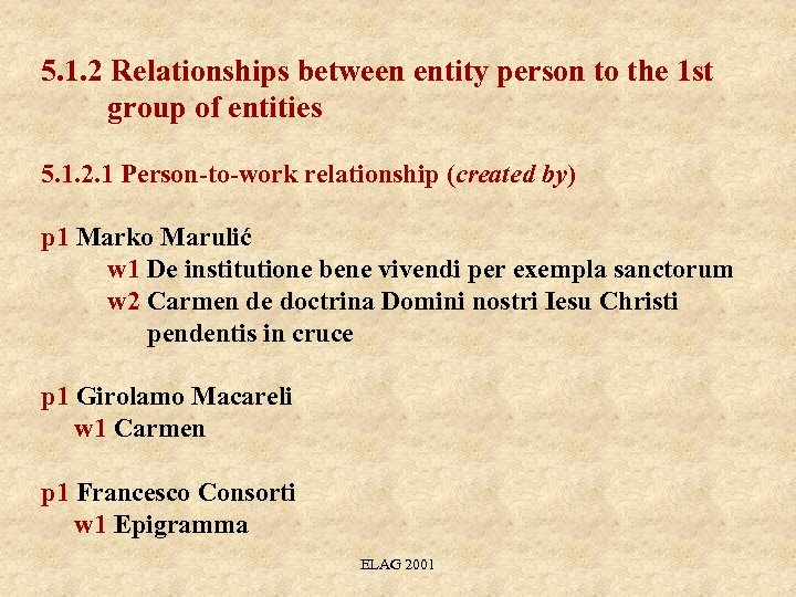 5. 1. 2 Relationships between entity person to the 1 st group of entities