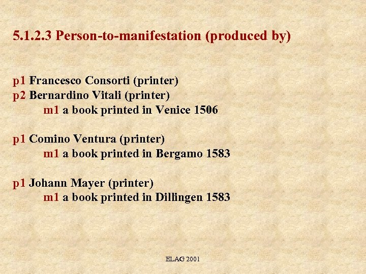 5. 1. 2. 3 Person-to-manifestation (produced by) p 1 Francesco Consorti (printer) p 2