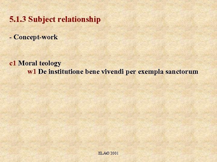 5. 1. 3 Subject relationship - Concept-work c 1 Moral teology w 1 De
