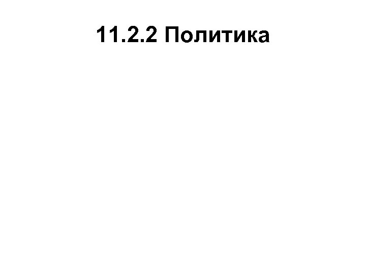 11. 2. 2 Политика