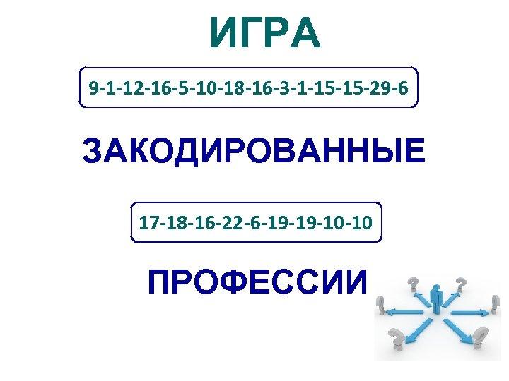 ИГРА 9 -1 -12 -16 -5 -10 -18 -16 -3 -1 -15 -15 -29