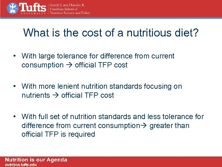 What is the cost of a nutritious diet? • With large tolerance for difference