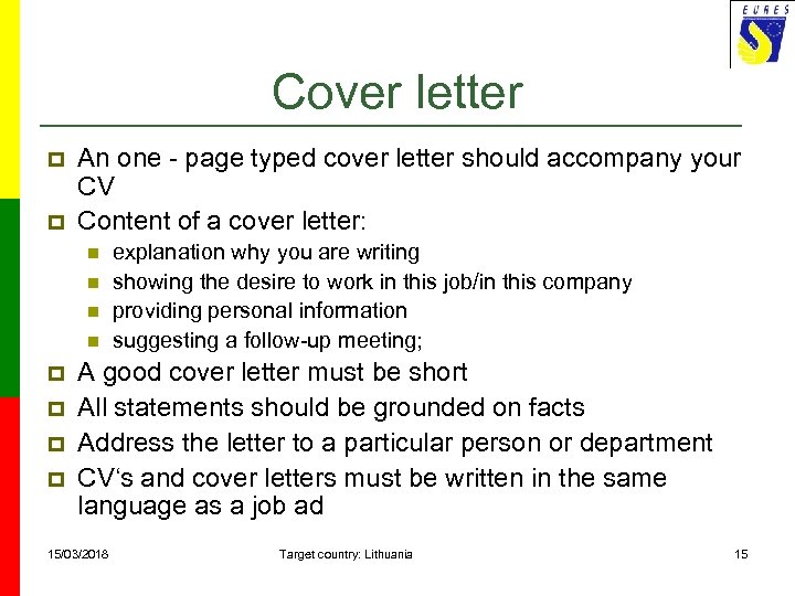 Cover letter p p An one - page typed cover letter should accompany your