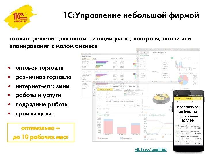 1 С: Управление небольшой фирмой готовое решение для автоматизации учета, контроля, анализа и планирования