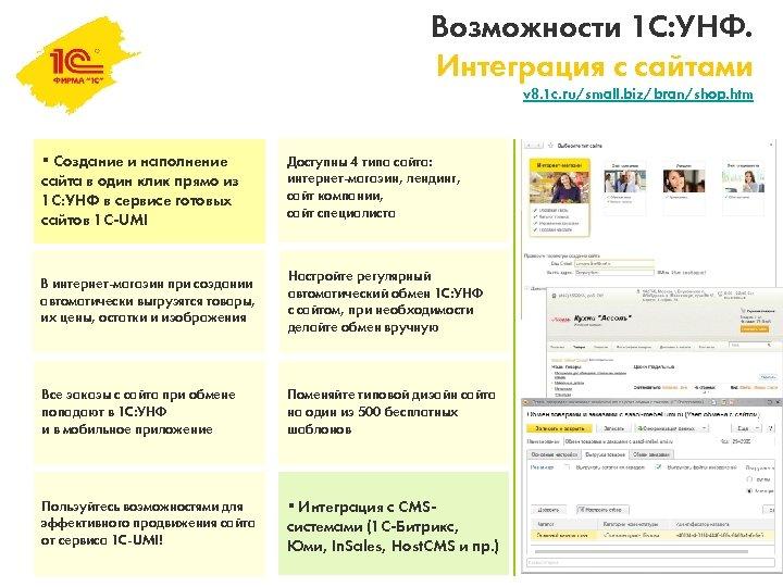 Возможности 1 С: УНФ. Интеграция с сайтами v 8. 1 c. ru/small. biz/bran/shop. htm