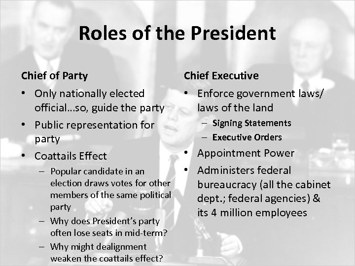 Roles of the President Chief of Party Chief Executive • Only nationally elected official…so,