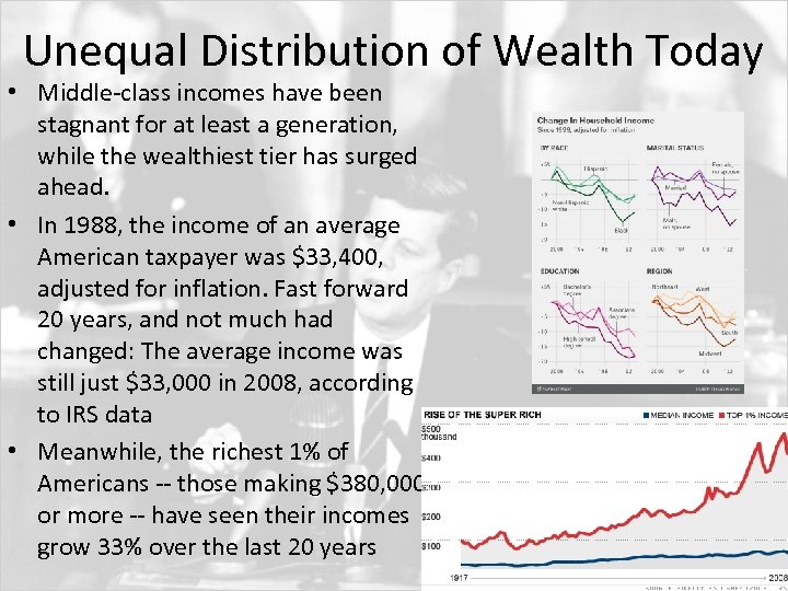 Unequal Distribution of Wealth Today • Middle-class incomes have been stagnant for at least