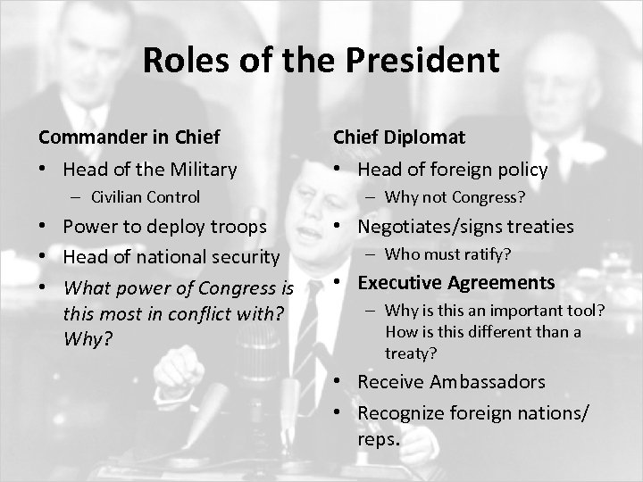 Roles of the President Commander in Chief Diplomat • Head of the Military •