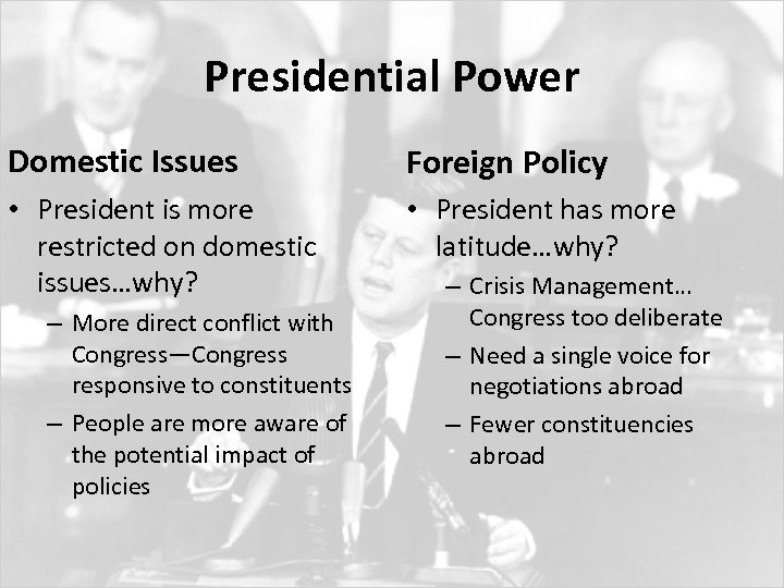 Presidential Power Domestic Issues Foreign Policy • President is more restricted on domestic issues…why?