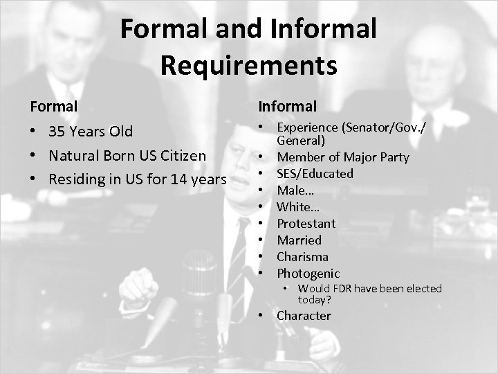 Formal and Informal Requirements Formal Informal • 35 Years Old • Natural Born US