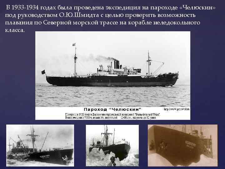 В 1933 -1934 годах была проведена экспедиция на пароходе «Челюскин» под руководством О. Ю.