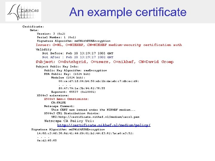 An example certificate Certificate: Data: Version: 3 (0 x 2) Serial Number: 1 (0