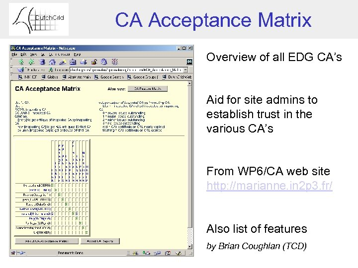 CA Acceptance Matrix Overview of all EDG CA's Aid for site admins to establish