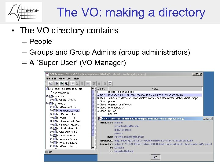 The VO: making a directory • The VO directory contains – People – Groups