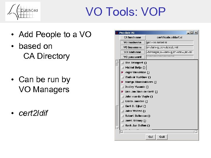 VO Tools: VOP • Add People to a VO • based on CA Directory