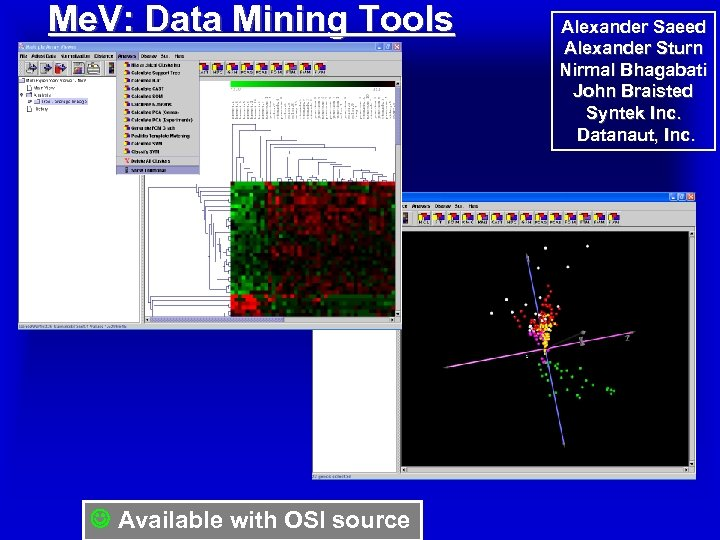 Me. V: Data Mining Tools Available with OSI source Alexander Saeed Alexander Sturn Nirmal