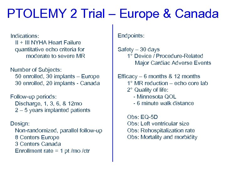 PTOLEMY 2 Trial – Europe & Canada Indications: II + III NYHA Heart Failure
