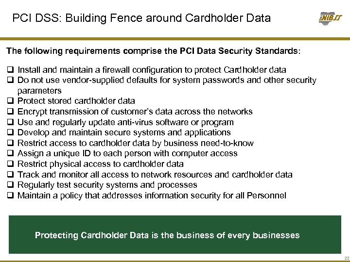 PCI DSS: Building Fence around Cardholder Data The following requirements comprise the PCI Data