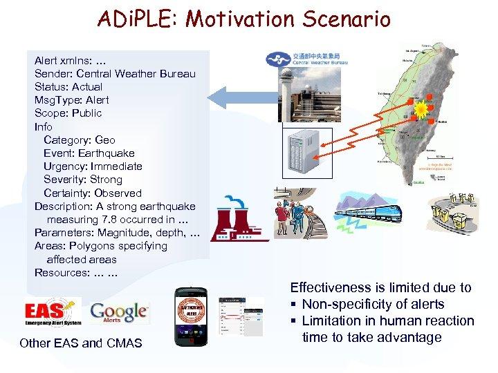 ADi. PLE: Motivation Scenario Alert xmlns: … Sender: Central Weather Bureau Status: Actual Msg.
