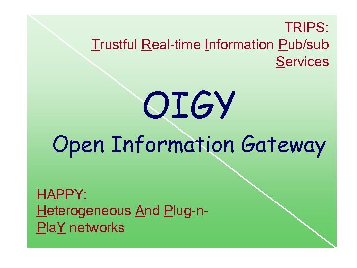TRIPS: Trustful Real-time Information Pub/sub Services OIGY Open Information Gateway HAPPY: Heterogeneous And Plug-n.