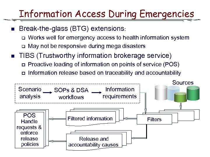 Information Access During Emergencies n Break-the-glass (BTG) extensions: q q n Works well for
