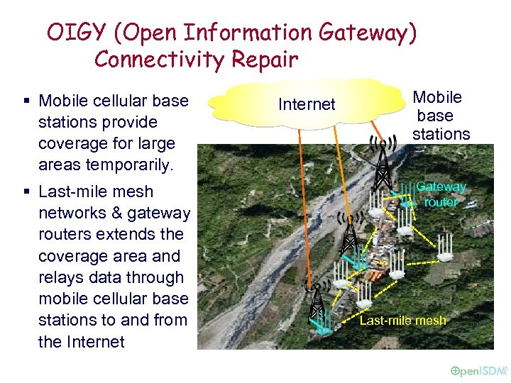 OIGY (Open Information Gateway) Connectivity Repair § Mobile cellular base stations provide coverage for