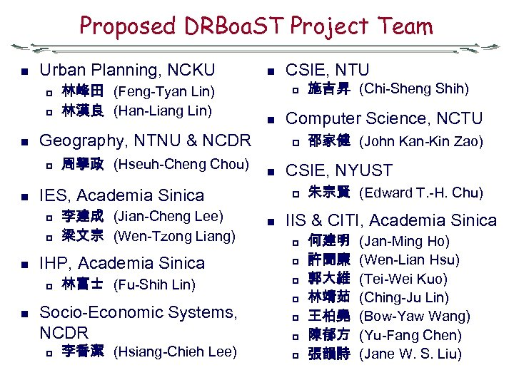 Proposed DRBoa. ST Project Team n Urban Planning, NCKU p p n p 李建成
