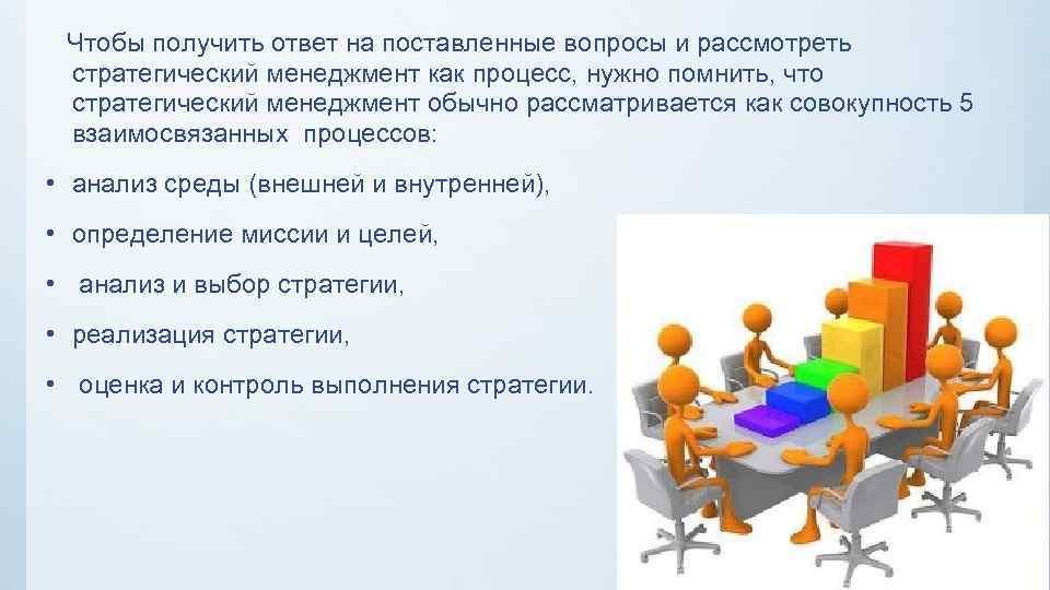Чтобы получить ответ на поставленные вопросы и рассмотреть стратегический менеджмент как процесс, нужно помнить,
