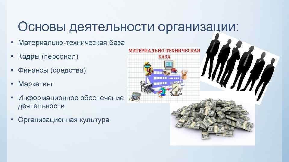 Основы деятельности организации: • Материально-техническая база • Кадры (персонал) • Финансы (средства) • Маркетинг