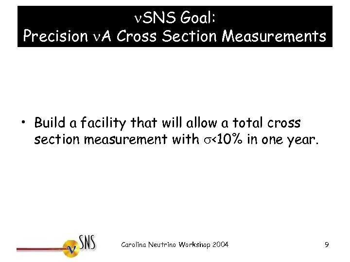 n. SNS Goal: Precision n. A Cross Section Measurements • Build a facility that