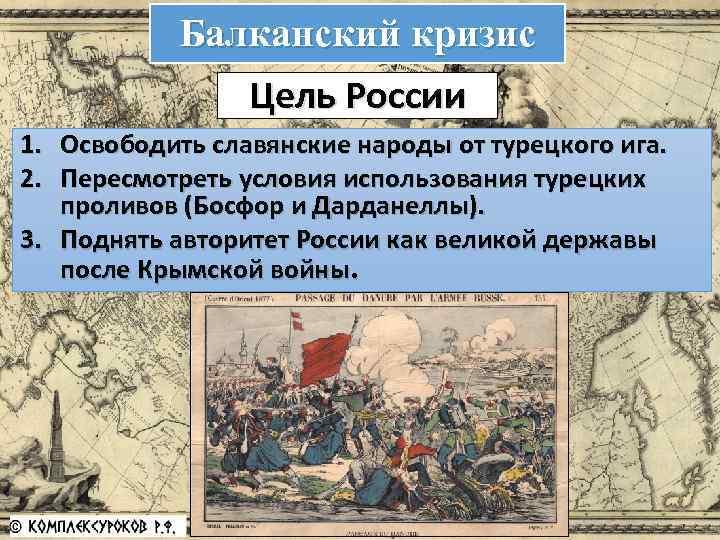 Балканский кризис Цель России 1. Освободить славянские народы от турецкого ига. 2. Пересмотреть условия